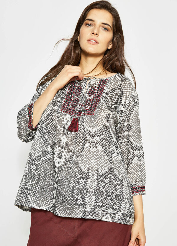 Curvy animal print blouse with embroidery | OVS