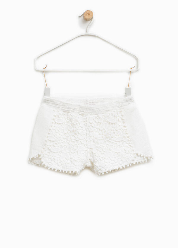 Solid colour cotton shorts with lace | OVS