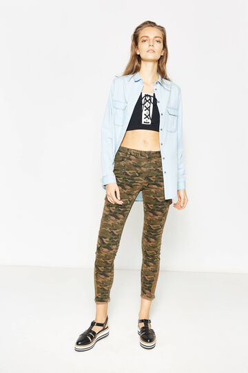 Cotton camouflage cargo trousers