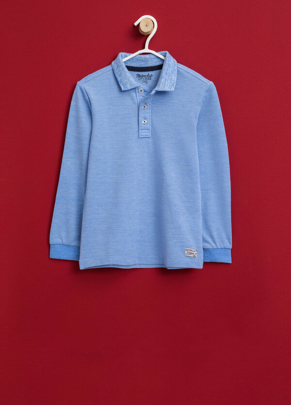 100% cotton polo shirt with patch and collar | OVS