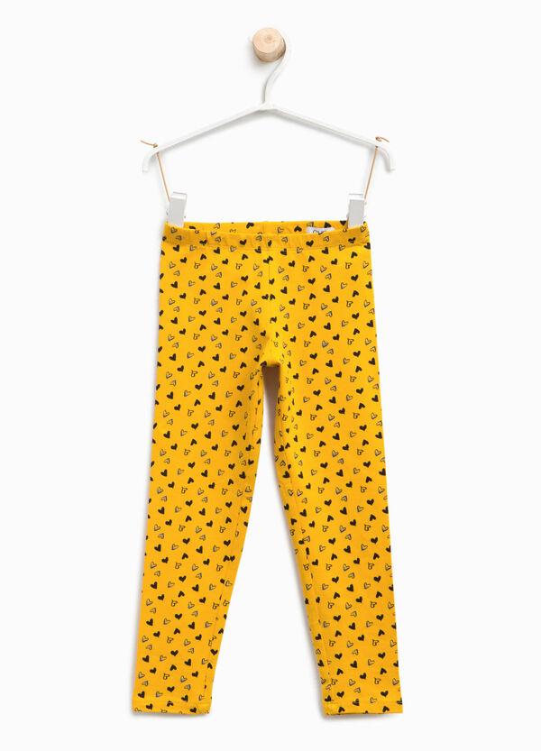 Heart patterned cotton leggings | OVS