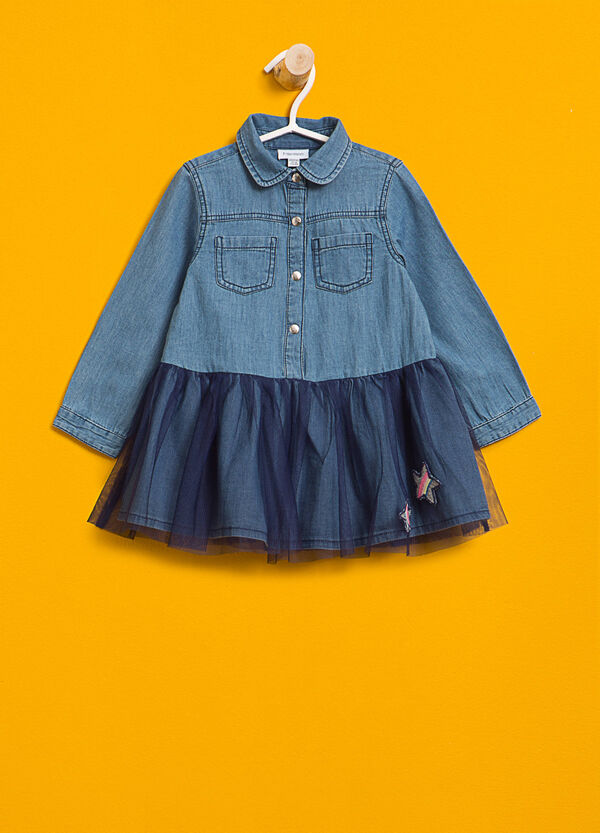 Denim dress with tulle and patch | OVS