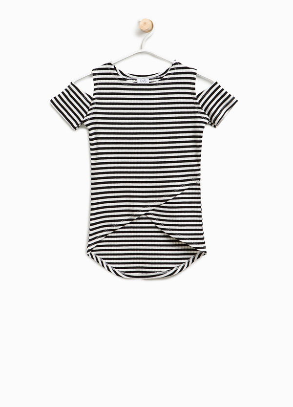 T-shirt a costine in cotone a righe | OVS