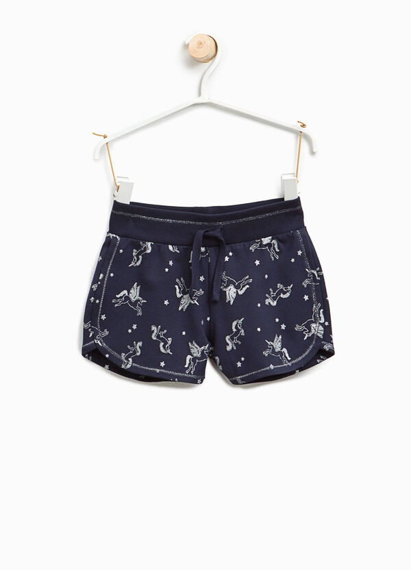 Glitter unicorn patterned shorts | OVS