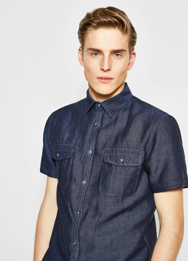 Camicia casual regular fit in chambray | OVS