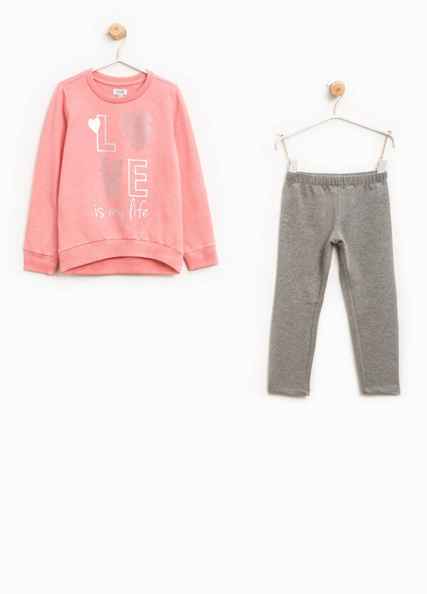 Tracksuit in 100% cotton with diamantés and print | OVS