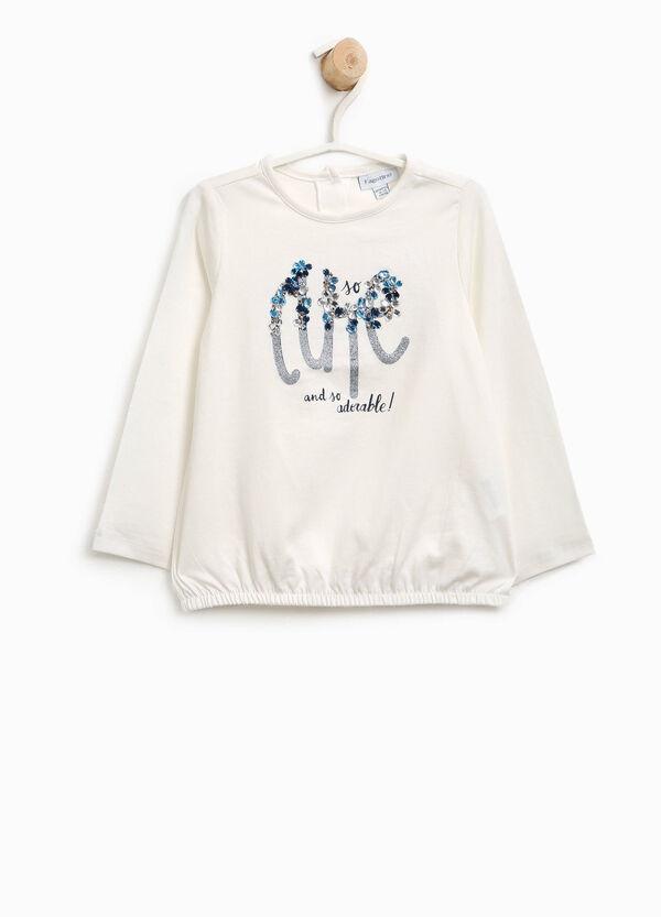 T-shirt in cotone strass e stampa glitterata | OVS