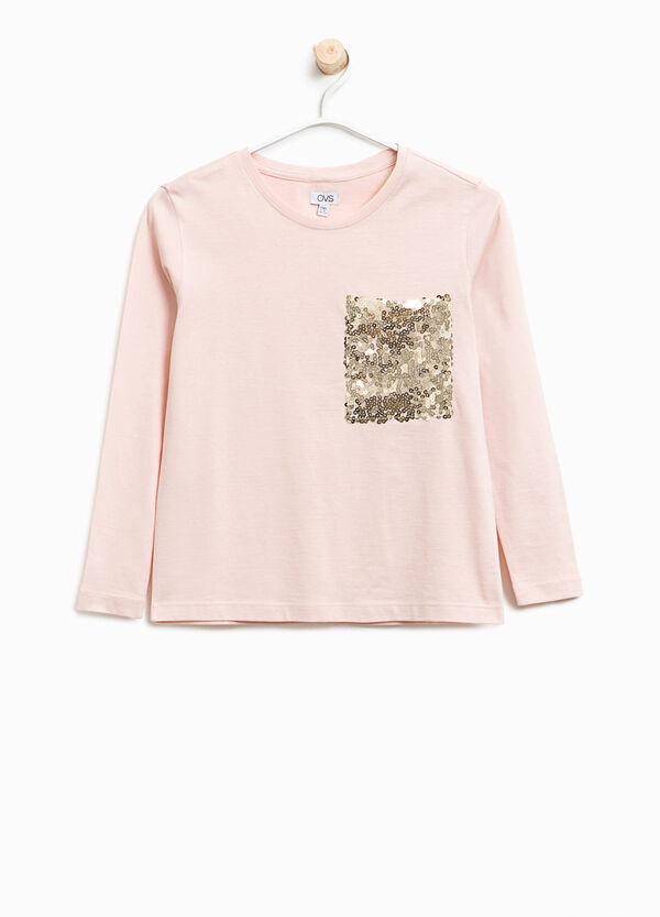 T-shirt cotone con taschino di paillettes | OVS