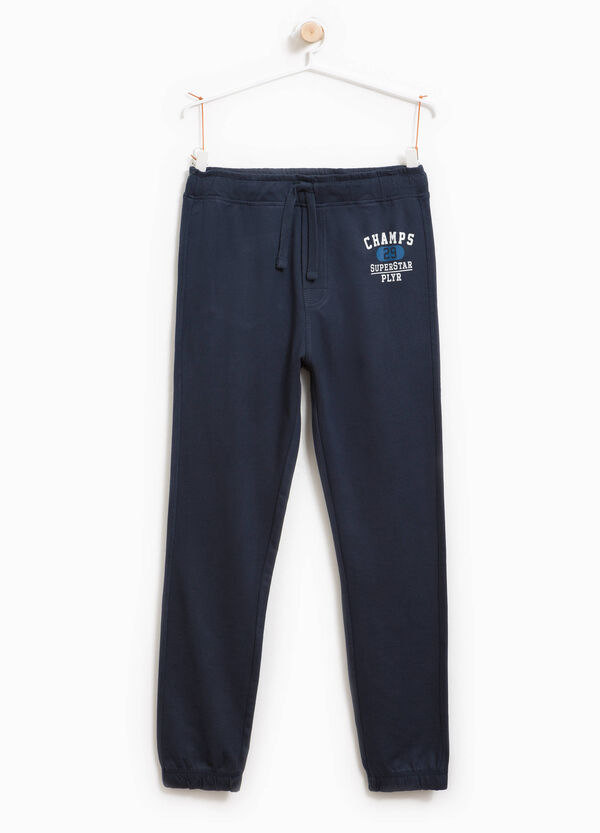 Pantaloni tuta in puro cotone con stampa | OVS