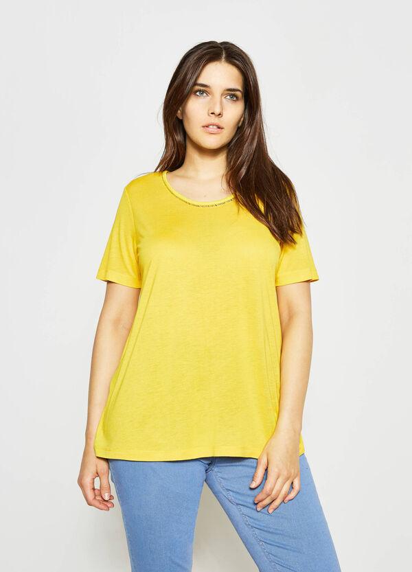 Curvy T-shirt with openwork neckline | OVS