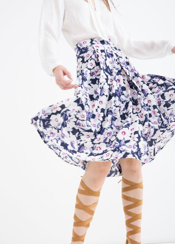 Stretch printed midi skirt | OVS