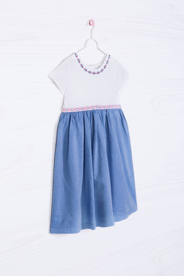 Short-sleeved dress with denim skirt | OVS