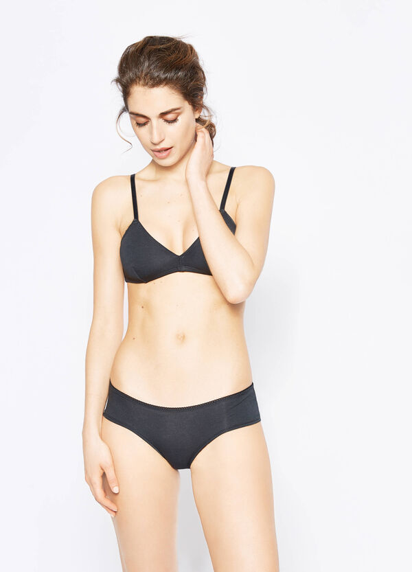 Two-pack solid colour and polka dot triangle bras | OVS