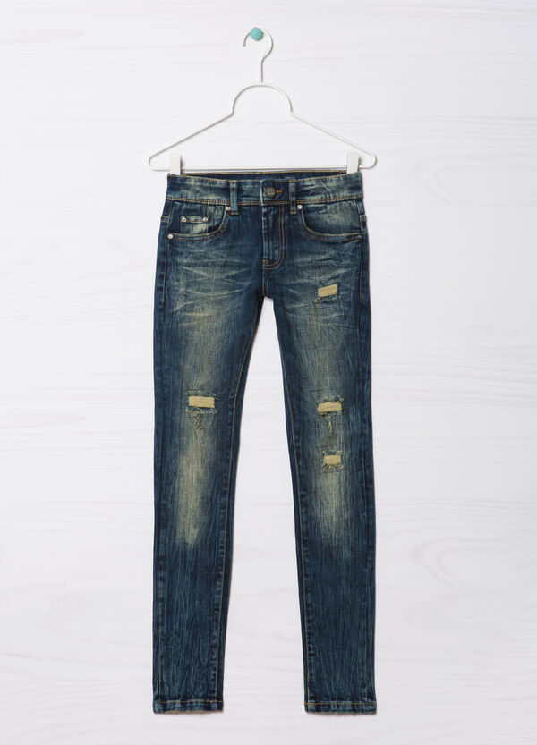 Jeans slim fit con strappi Blue Black   OVS