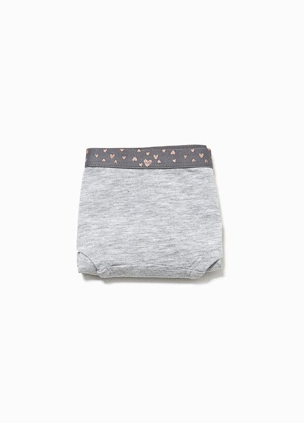 Culotte in cotone organico con cuori glitterati | OVS