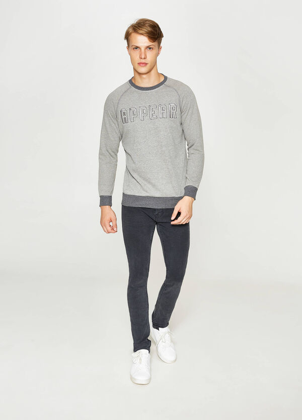 Printed sweatshirt with lettering embroidery | OVS