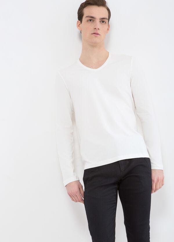T-shirt cotone stretch scollo a V   OVS