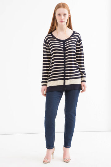 Curvy striped cardigan in viscose