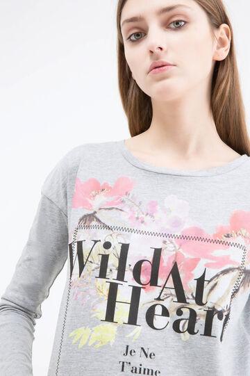 Printed mélange cotton T-shirt