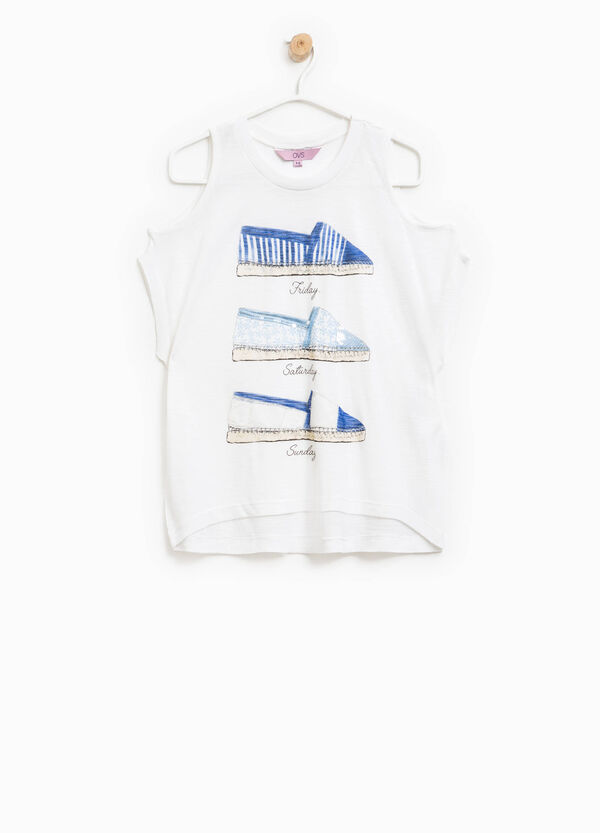 Long printed T-shirt with sequins | OVS