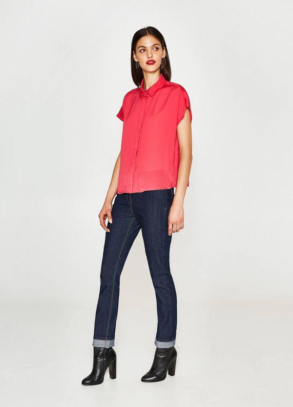Satin shirt with cap sleeves   OVS