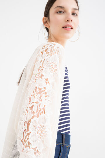 Viscose cardigan with lace