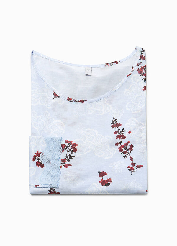 Floral pyjama top with lace | OVS