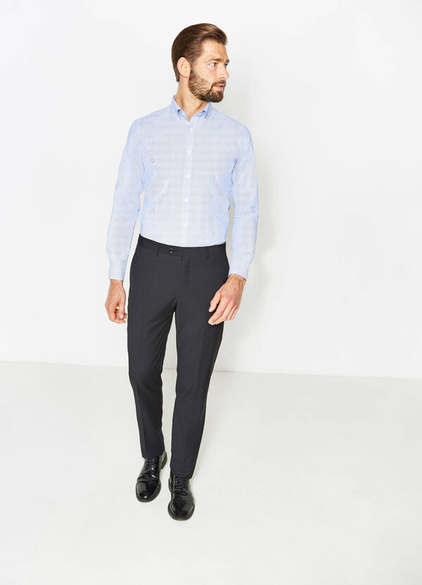 Pantaloni regular fit con piega tinta unita | OVS