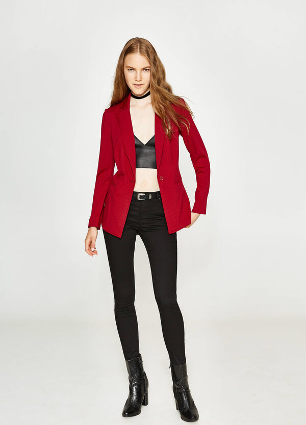 Blazer in viscosa stretch con revers | OVS