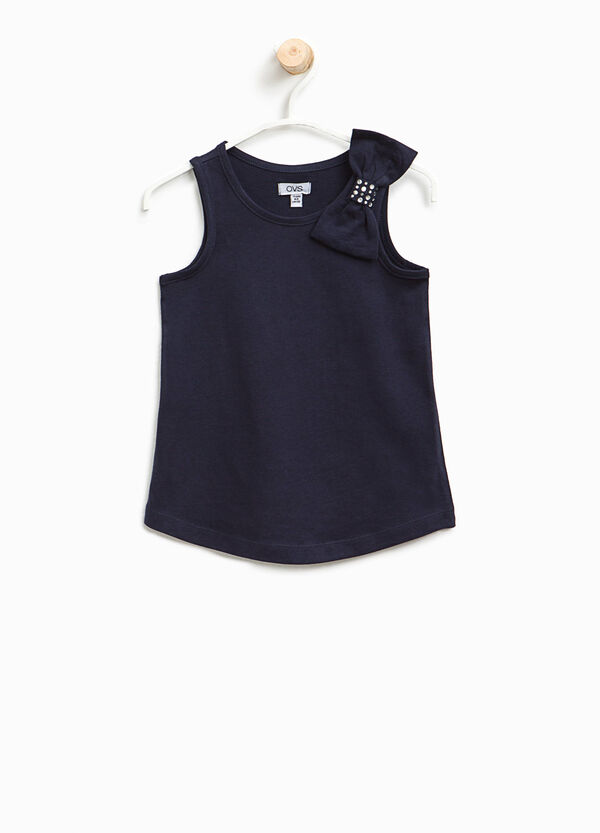 Cotton top with bow and diamantés | OVS