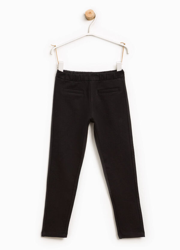 Solid colour stretch cotton trousers | OVS