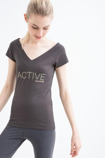 V-neck stretch gym T-shirt