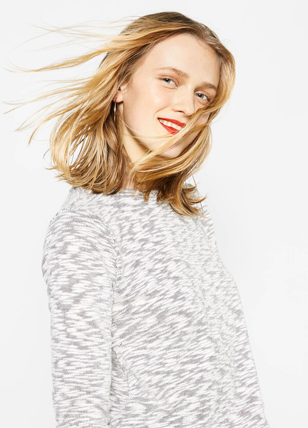 Cotton sweatshirt with fringed insert | OVS