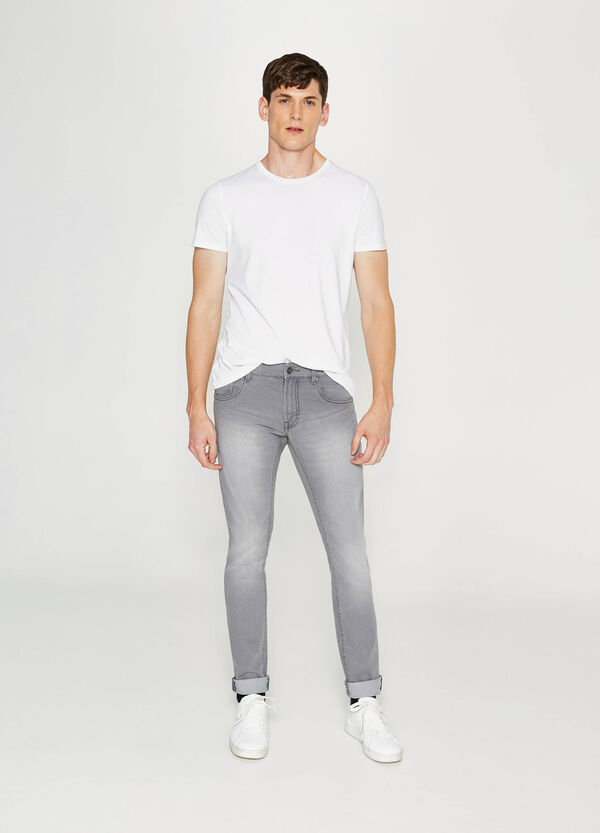 Skinny-fit, used-effect, stretch jeans | OVS