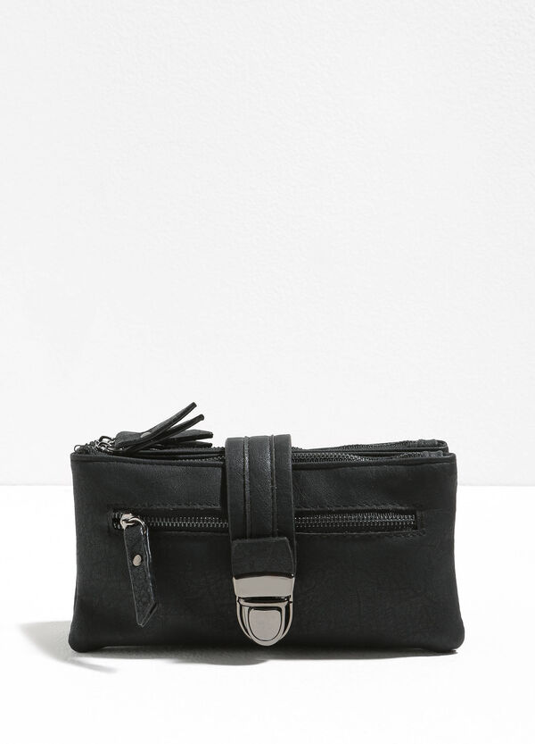 Textured clutch with strap and zip | OVS