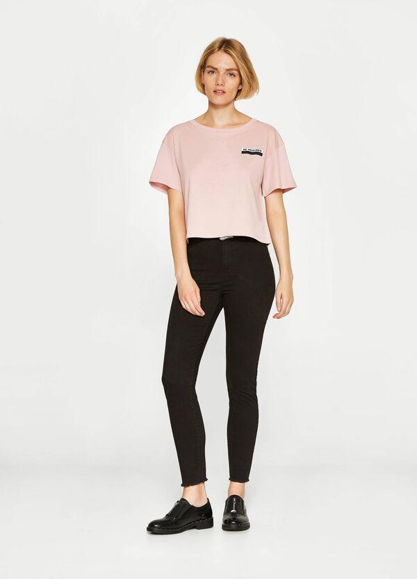 T-shirt crop cotone e viscosa stampata | OVS