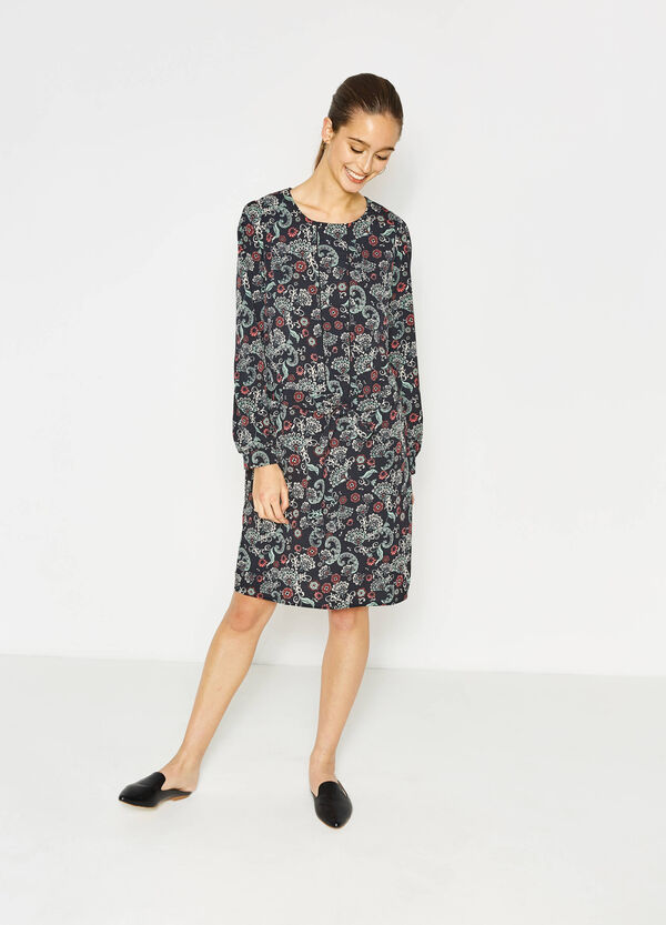 Dress with bow and all-over print | OVS