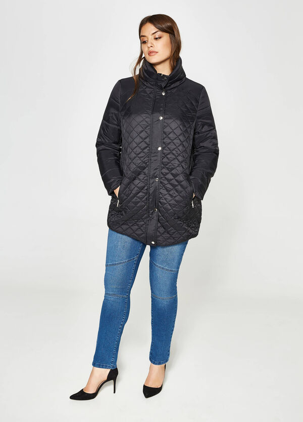 Curvy quilted jacket with high neck | OVS
