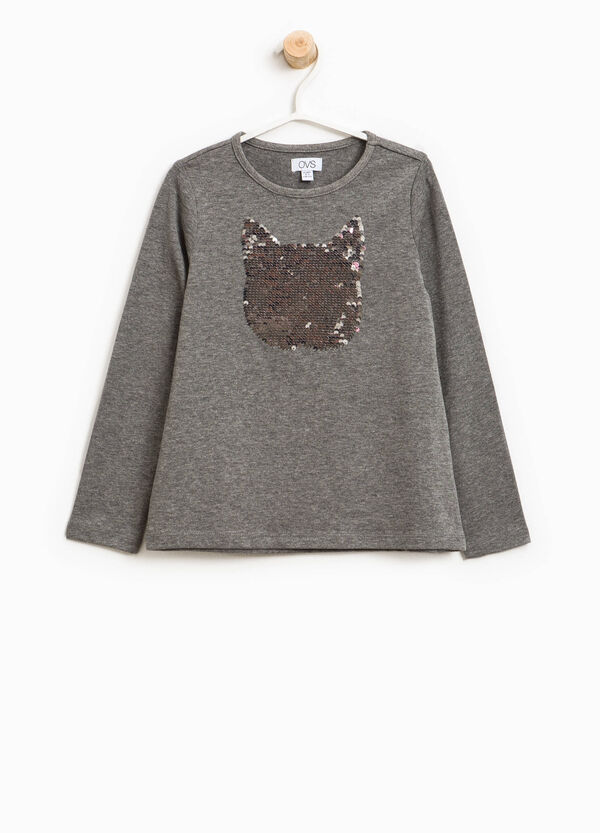 T-shirt with cat-shaped sequins | OVS