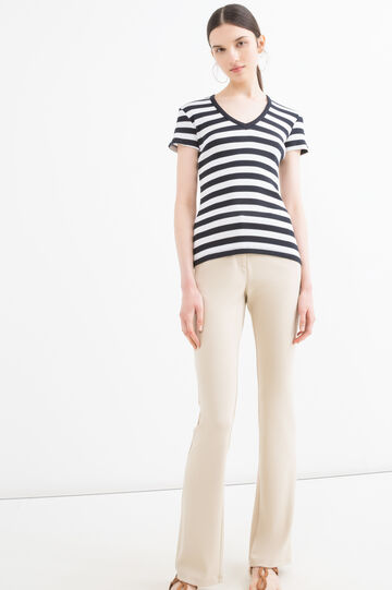 V-neck T-shirt in cotton blend