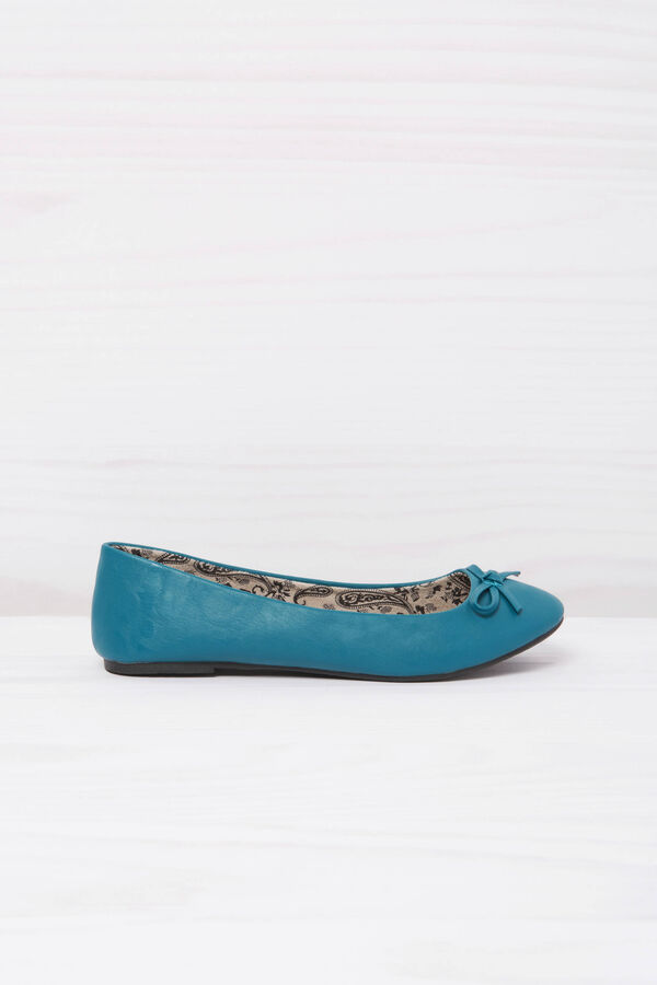 Leather look ballerina flats with patterned inner | OVS