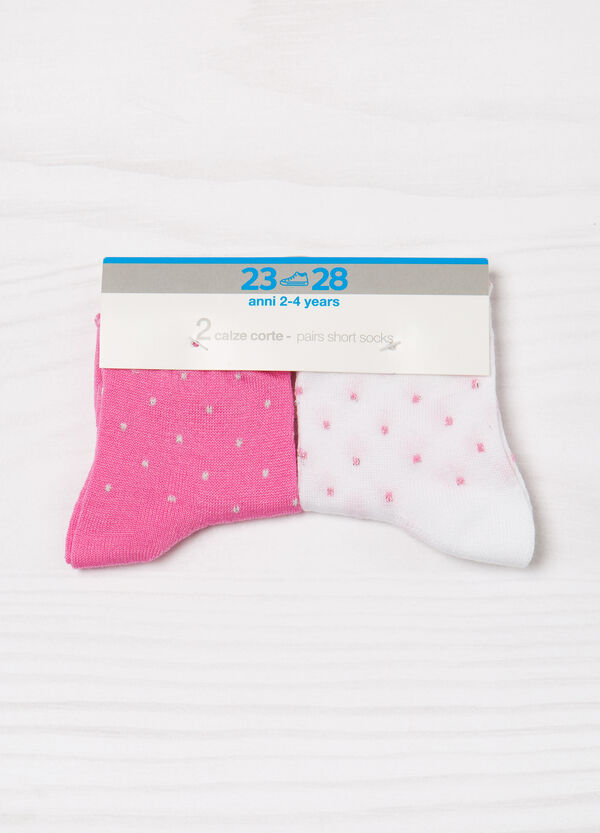 Two-pair pack stretch socks with polka dots | OVS