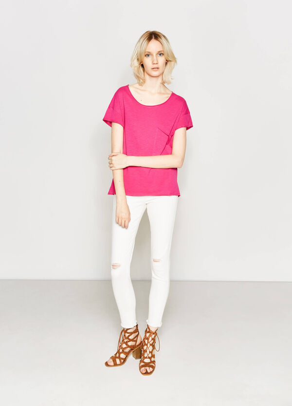100% cotton T-shirt with raw edges | OVS