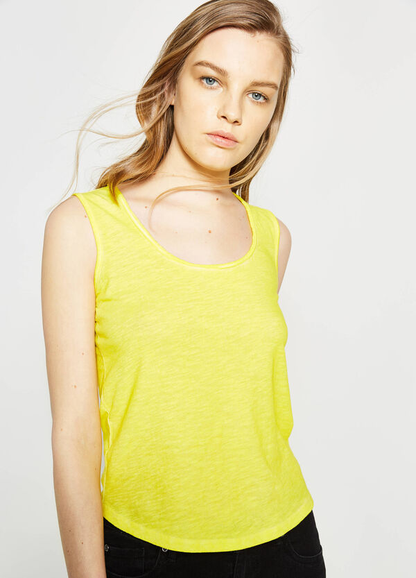 Cotton top with raw edges | OVS