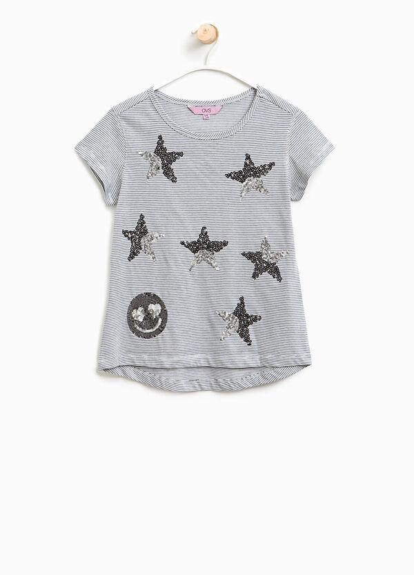 T-shirt a righe con paillettes | OVS