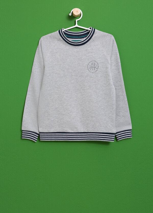 Cotton sweatshirt with striped ribbing and print | OVS