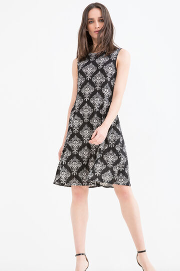 Patterned sleeveless dress in stretch viscose
