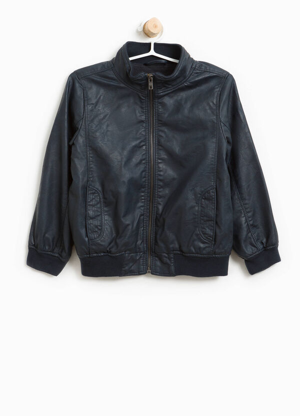 Textured-effect leather-look jacket   OVS