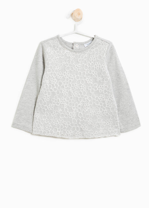 Cotton tulle T-shirt with floral embroidery | OVS