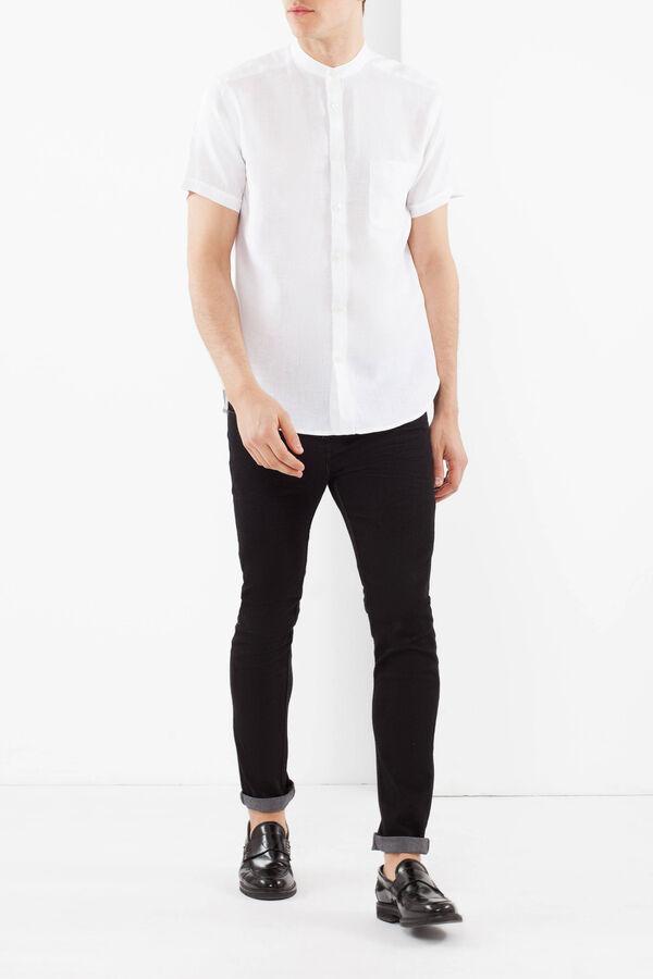 Camicia lino con colletto coreano | OVS